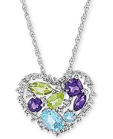 Multi-Gemstone Open Heart Pendant Necklace (2-1/20 ct. t.w.) in Sterling Silver