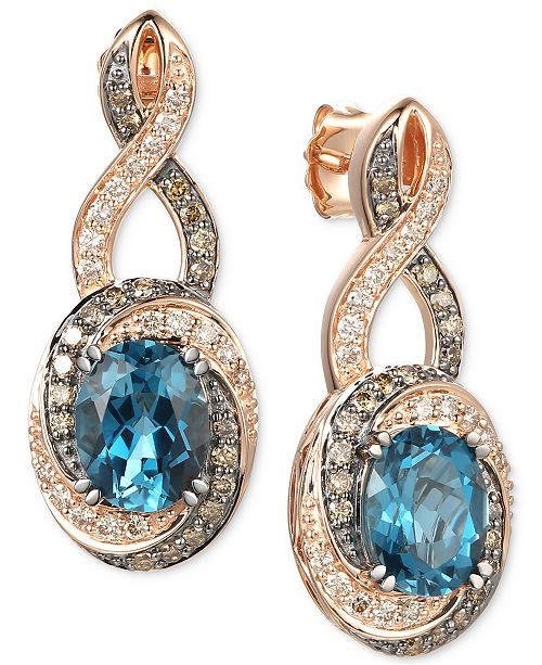 Le Vian Deep Sea Blue Topaz (4-1/5 ct. t.w.), Nude Diamonds (3/8 ct. t.w.) & Chocolate Diamonds® (3/8 ct. t.w.) Drop Earrings in 14k Rose Gold