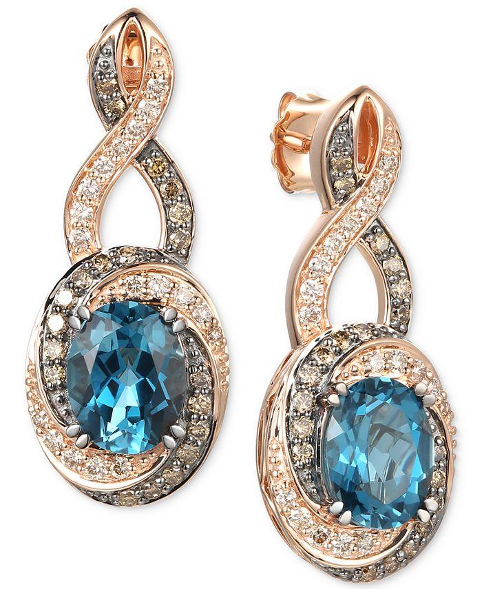 Le Vian - Deep Sea Blue Topaz (4-1/5 ct. t.w.), Nude Diamonds (3/8 ct. t.w.) & Chocolate Diamonds® (3/8 ct. t.w.) Drop Earrings in 14k Rose Gold
