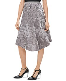 Sequined Pull-On Skirt