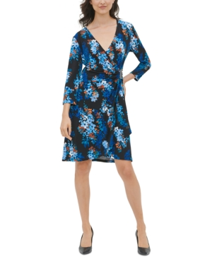 Calvin Klein Floral-Print Faux-Wrap Dress In Mallard Floral