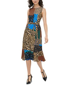 Calvin Klein Patchwork-Print Belted Dress