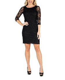 24seven Comfort Apparel Women's Fitted Lace Mini Dress