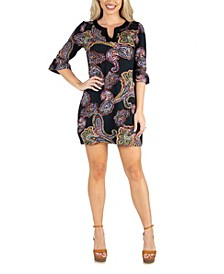 Women's Paisley Tunic Dress with Elbow Length Sleeves