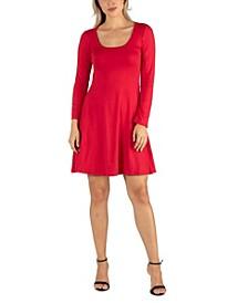 Women's Long Sleeve Flared T-Shirt Dress