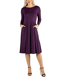 Women's Midi Length Fit and Flare Pocket Dress