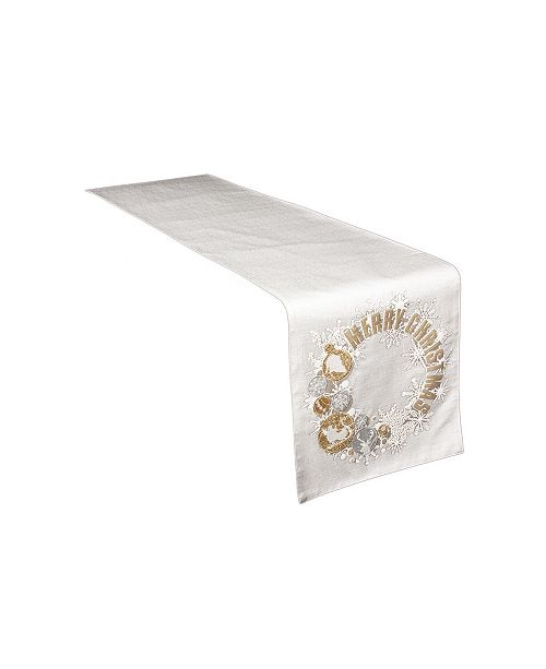 "Manor Luxe Ornament Wreath Christmas Table Runner, 13.5"" x 72"""