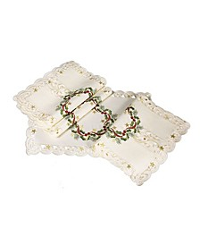 "Ribbon Wreath Embroidered Cutwork Christmas Placemats, 13"" x 19"", Set of 4"