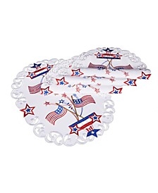 """Star Spangled Embroidered Cutwork Placemats, 13"""" x 19"""", Set of 4"""