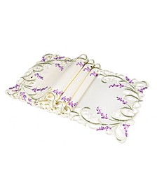 """Lavender Lace Embroidered Cutwork Placemats, 13"""" x 19"""", Set of 4"""