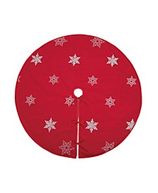 "Glisten Snowflake Embroidered Christmas Tree Skirt, 56"" Round"