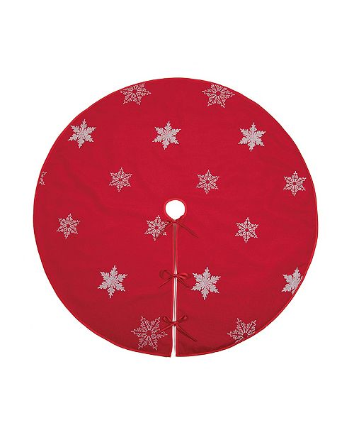 "Xia Home Fashions Glisten Snowflake Embroidered Christmas Tree Skirt, 56"" Round"