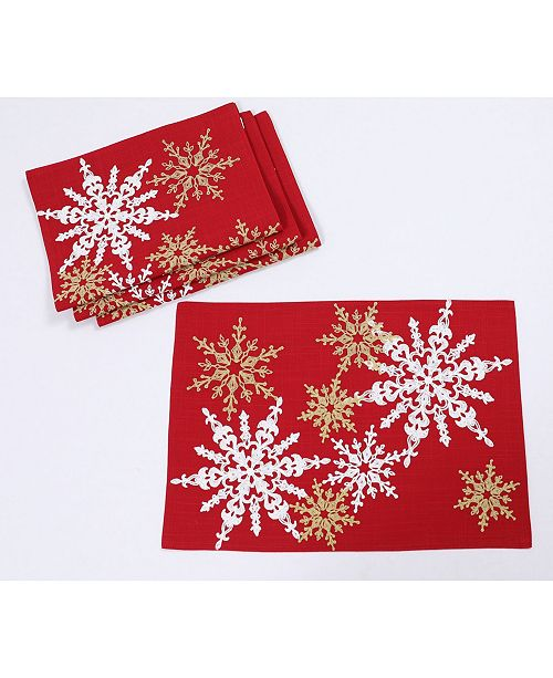 """Manor Luxe Magical Snowflakes Crewel Embroidered Christmas Placemats 14"""" x 20"""", Set of 4"""
