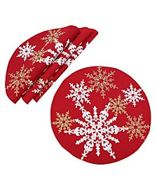 """Magical Snowflakes Crewel Embroidered Christmas Placemats 16"""" Round, Set of 4"""
