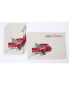"Merry Christmas Truck Embroidered Placemats 14"" x 20"", Set of 4"