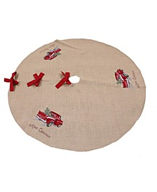 "Merry Christmas Truck Embroidered Tree Skirt 56"" Round"