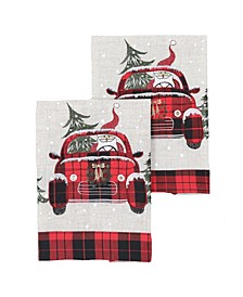 "Santa Claus Riding on Car Christmas Decorative Towels 14"" x 22"", Set of 2"