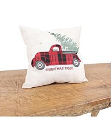 "Vintage Tartan Truck with Christmas Tree Pillow 14"" x 14"""