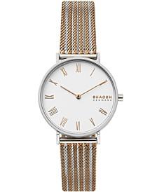 Women's Hald Two-Tone Stainless Steel Mesh Bracelet Watch 34mm