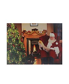 "Fiber Optic and LED Lighted Santa Checks His List Christmas Canvas Wall Art, 12"" x 15.75"""