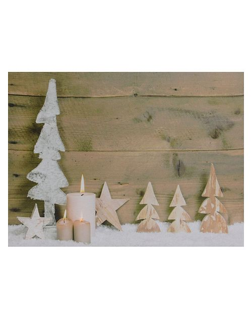 """Northlight LED Lighted Flickering Candles and Winter Wooden Trees Canvas Wall Art, 12"""" x 15.75"""""""