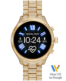 Michael Kors Access Lexington 2 Glitz Gold-Tone Stainless Steel Bracelet Touchscreen Smart Watch 44mm, Powered by Wear OS by Google™