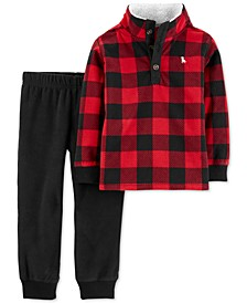 Toddler Boys 2-Pc. Buffalo-Check Fleece Top & Jogger Pants Set