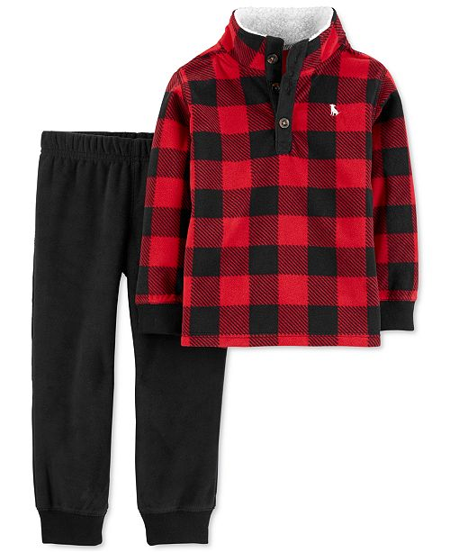 Carter's Toddler Boys 2-Pc. Buffalo-Check Fleece Top & Jogger Pants Set
