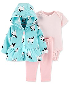 Baby Girls 3-Pc. French Bulldog-Print Hoodie, Striped Bodysuit & Pants Set