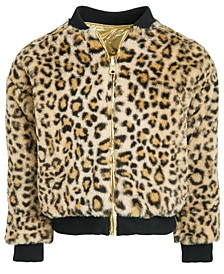 Toddler Girls Reversible Faux Fur & Metallic Bomber Jacket, Created For Macy's
