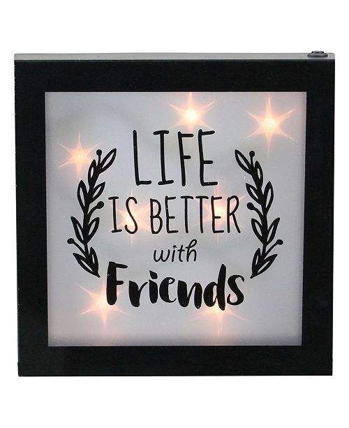 """Northlight LED Lighted Life is Better with Friends Framed Wall Decor, 9"""" x 9"""""""