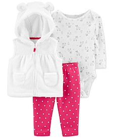 Baby Girls 3-Pc. Hooded Vest, Reindeer-Print Bodysuit & Dot-Print Pants Set