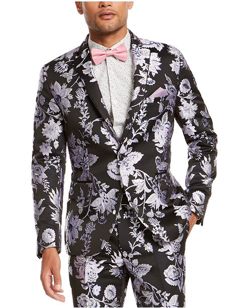 INC International Concepts I.N.C. Men's Slim-Fit Floral Jacquard Blazer, Created For Macy's