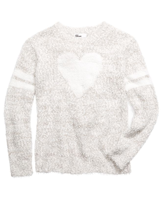 Epic Threads Big Girls Heart Stripes Sweater, Created for Macy's