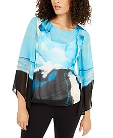 Petite Printed Sheer Top, Created for Macy's