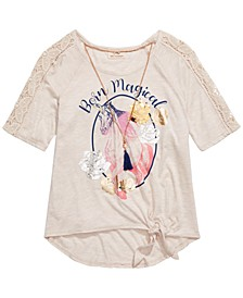 Big Girls Born Magical Unicorn T-Shirt & Necklace