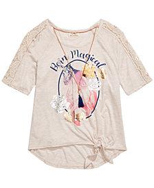 Belle Du Jour Big Girls Born Magical Unicorn T-Shirt & Necklace