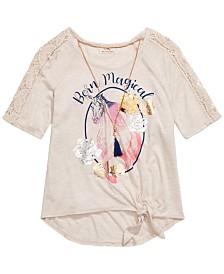 Belle Du Jour Little Girls Born Magical Unicorn T-Shirt & Necklace