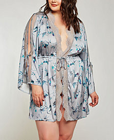 iCollection Plus Size Hummingbird Print Robe, Online Only