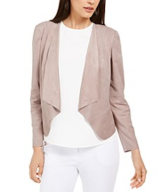 Faux-Suede Draped-Front Jacket