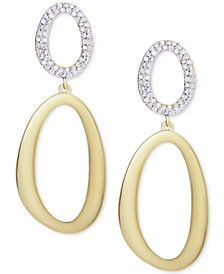 Diamond Double Oval Drop Earrings (1/2 ct. t.w.) in Sterling Silver & 14k Gold-Plate