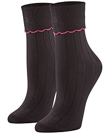 Women's 3 Pack Scalloped Turncuff Crew Socks