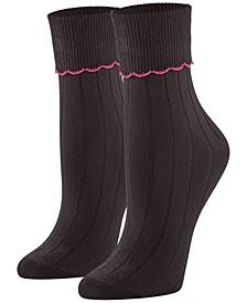 Women's 3 Pack Scalloped Turncuff Crew Socks