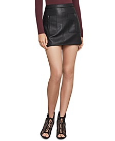 Faux-Leather Cargo-Pocket Mini Skirt