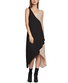 BCBGMAXAZRIA Colorblocked Asymmetrical Trapeze Dress