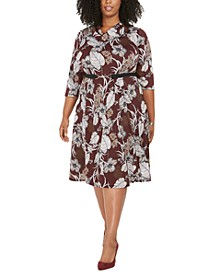 Plus Size Belted Floral-Print Dress
