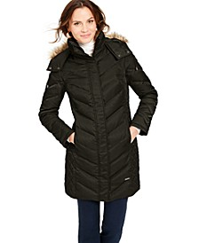 Petite Faux-Fur-Trim Down Hooded Puffer Coat