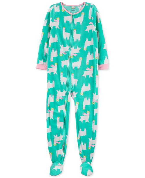 Carter's Little & Big Girls 1-Pc. Llama Fleece Footie Pajamas