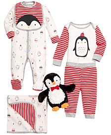 Baby Boys Penguin Plush Toy, Blanket, Bib & Matching Outfits, Created For Macy's