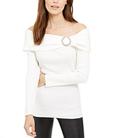 INC Embellished Off-The-Shoulder Sweater, Created For Macy's